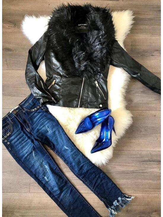 Műbőr dzseki vastag szőrmével | Starstyle.hu