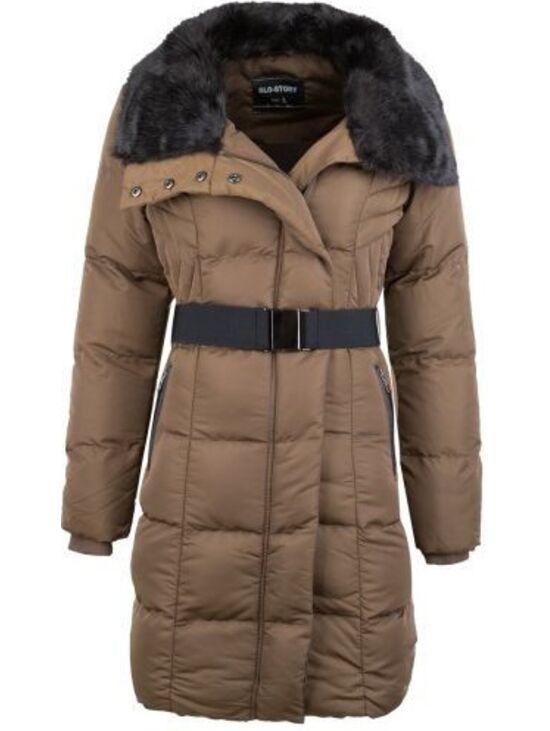 5423462ca3 Női steppelt téli kabát övvel   Starstyle.hu